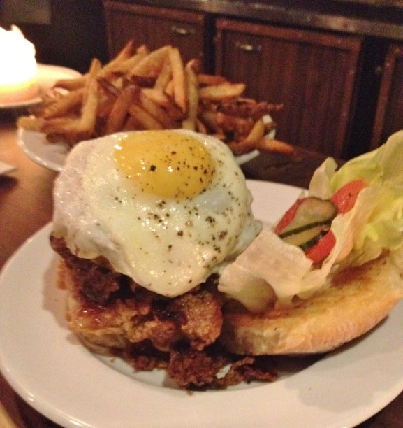 Dirty Burger (DP) + foie gras + fried chicken skin + fried egg = Gang Bang Upstairs at Campagnolo