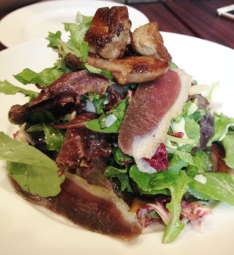 """The """"salad"""" at Au Comptoir with duck prosciutto, confit gizzards and foie gras was quack-alicious"""