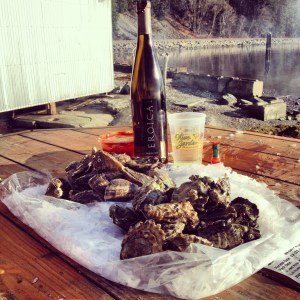A perfect January day; oysters, wine and good friends at Taylor Shellfish Farm in Bellingham