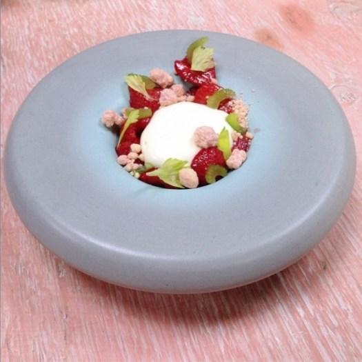 Strawberries, ricotta mousse, lemon cake, celery by pastry chef Bill Corbett