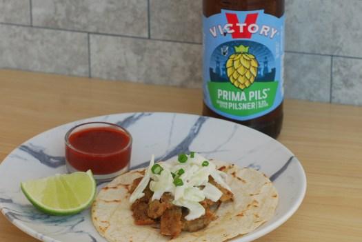 Scrapple Tacos with Aji Panca Pilsner Salsa