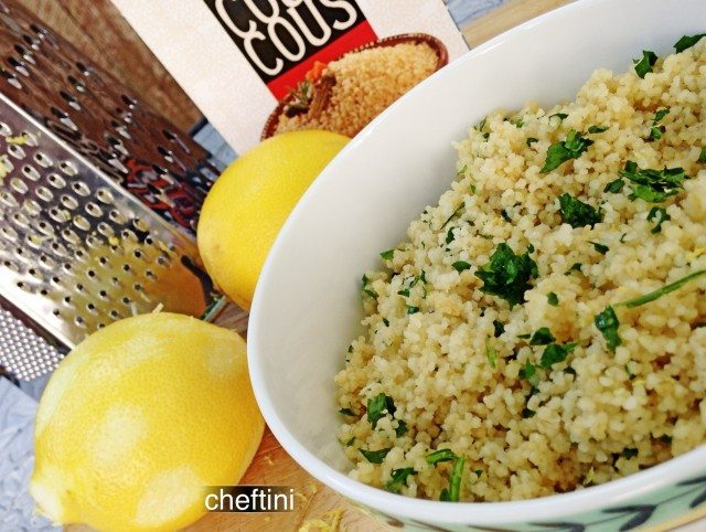 Simple Whole Wheat Lemon Parsley Couscous