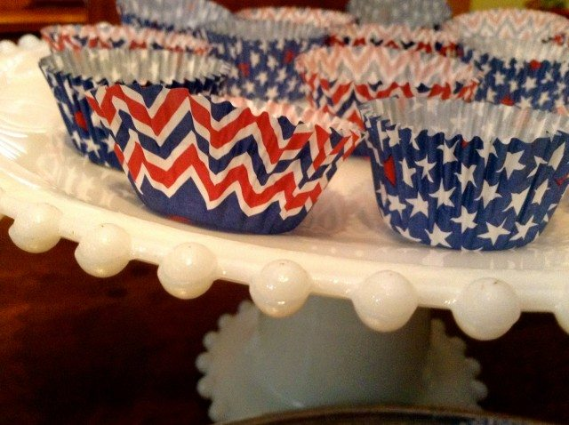 Red White Blue Mini Cupcake Cups