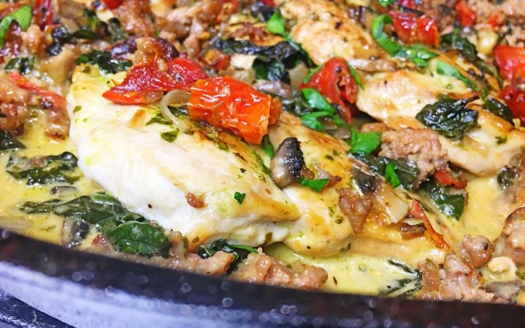 Skillet Chicken with Sausage, Sun Dried Tomatoes, Mushrooms and Spinach