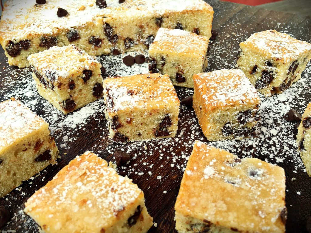 Vanilla Chocolate Chip Cake Squares