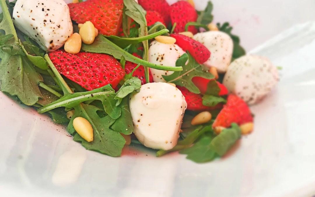 Strawberry Mozzarella Ball Arugula Salad