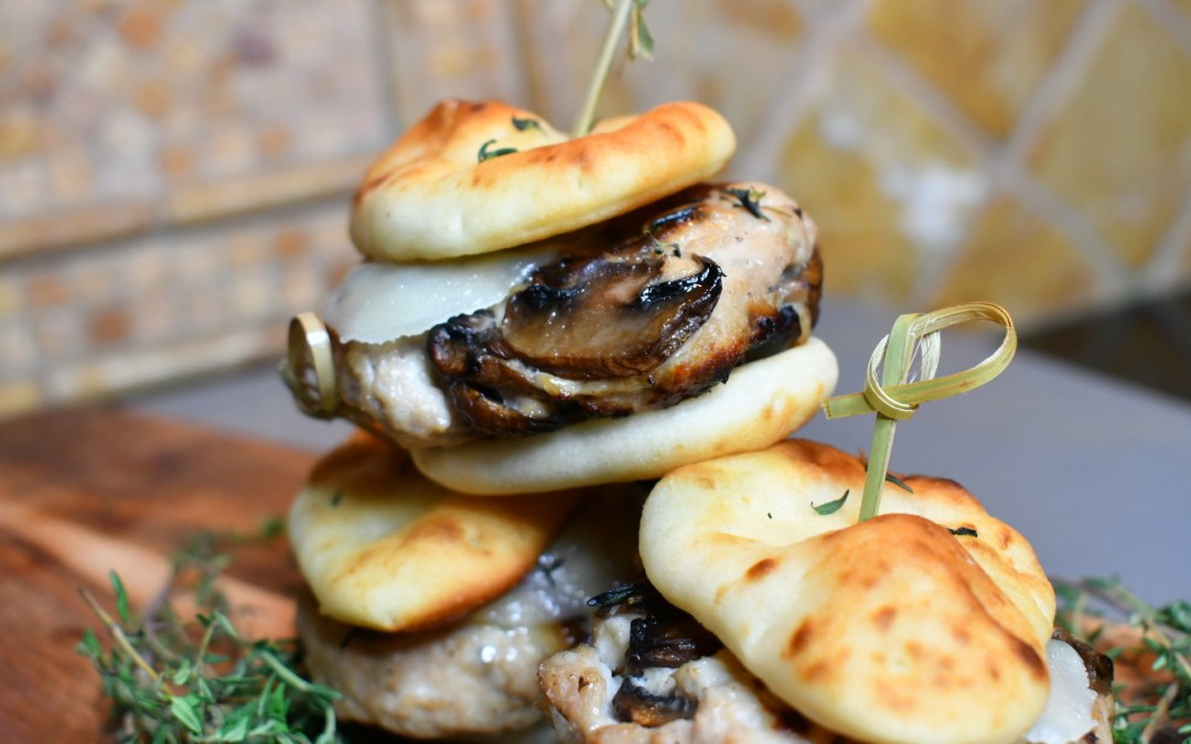 Mini #NaanBread Turkey Marsala Sliders