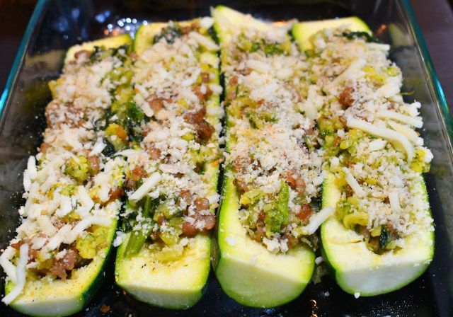 Sausage Broccoli Rabe stuffed Zucchini