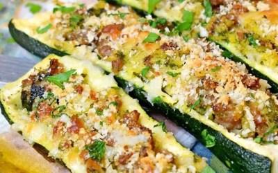 Sausage Broccoli Rabe Risotto Stuffed Zucchini