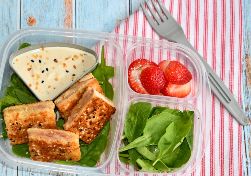 Everything Bagel Ham and Cheese Sandwich Bento Box Lunch