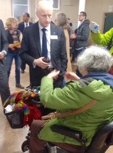 Disabled person discuss with Andy Byford at L Train  Open House. Photo by Lesley Susan
