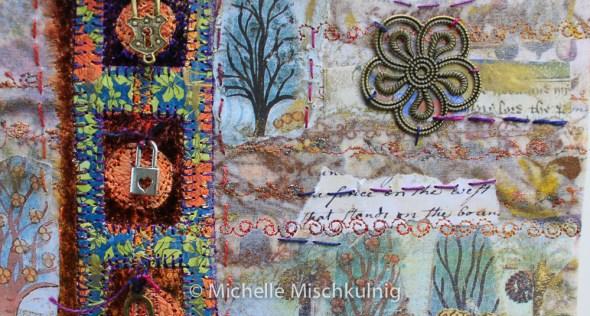Hand stitching and embellishing .