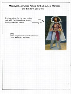 Pattern for Medieval or Renaissance Cape for Barbie or Ken Dolls