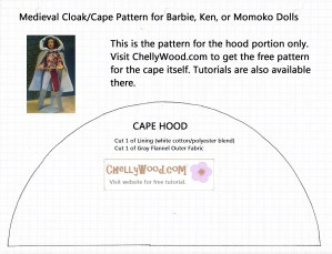 Free Downloadable Printable Pattern for Medieval Cloak (this is only the hood portion)