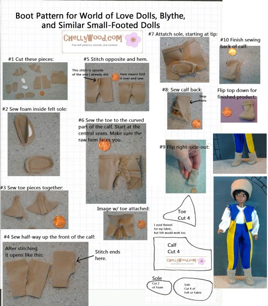 Downloadable printable pattern for boots to fit small dolls like Momoko dolls, Blythe, and World of Love dolls from Hasbro