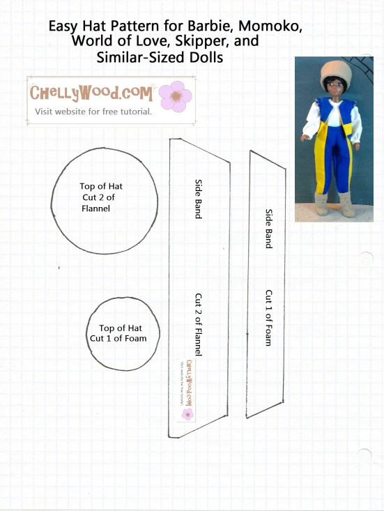 Image of easy-to-sew doll hat pattern