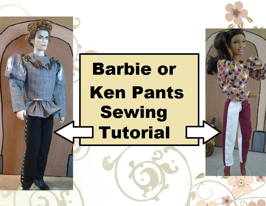 "Thumbnail of Barbie and ken in hand-sewn doll clothes with header, ""barbie or ken pants sewing tutorial"""