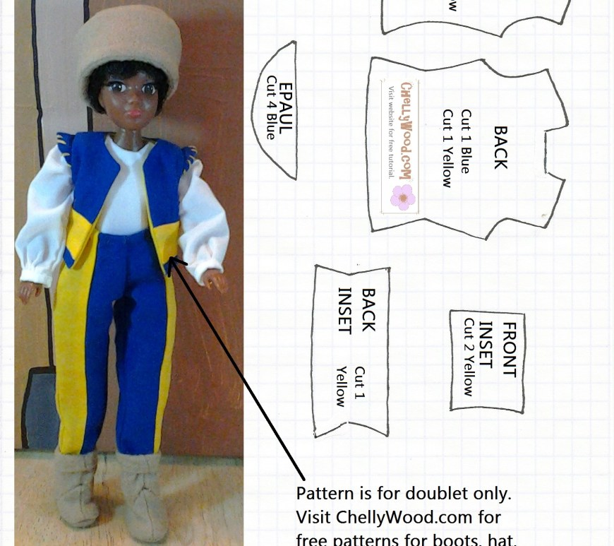 Image of printable pattern (royalty free) to sew a miniature doll doublet or vest