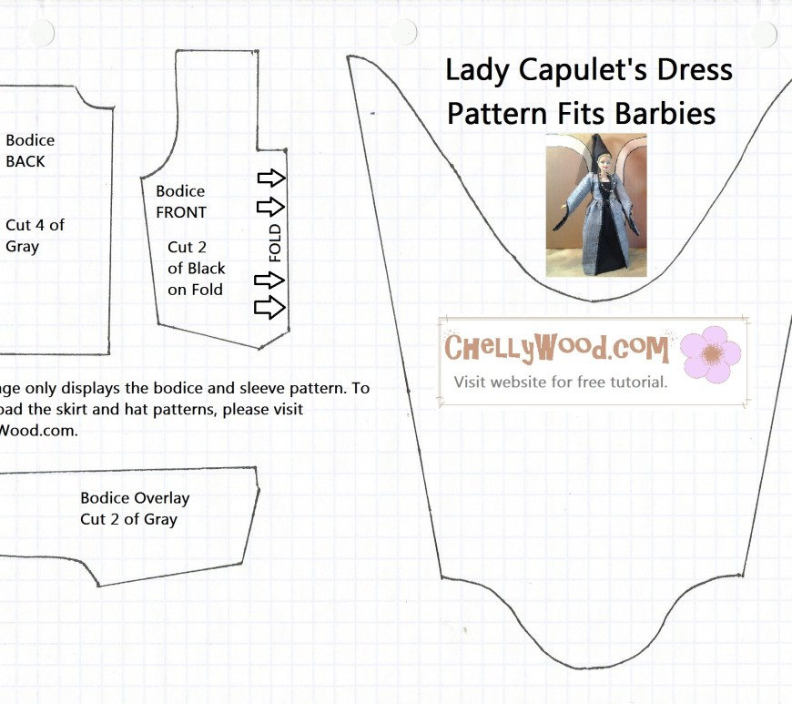 Pattern Image for the Bodice of a Princess Dress for Dolls