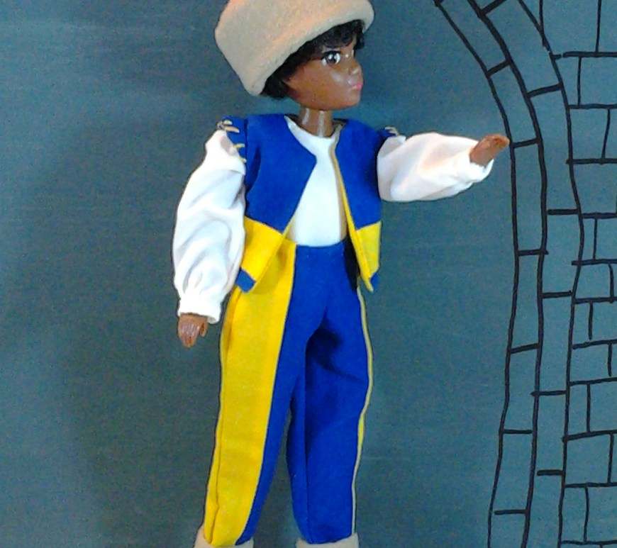 Image of Hasbro World of Love (Soul) doll dressed in Renaissance clothing for video production of Romeo and Juliet