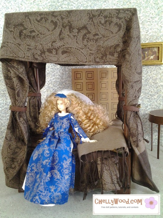 Image of Momoko doll seated on four-poster bed in castle-like diorama setting