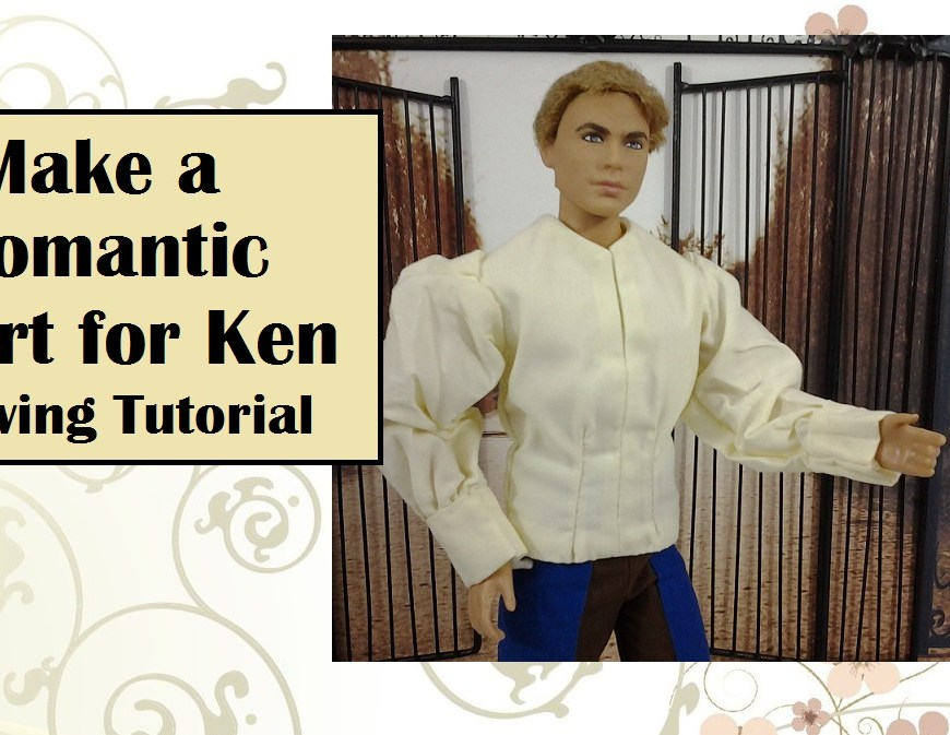 "Image of Ken doll wearing romantic blousey shirt with header that reads ""Make a romantic shirt for Ken: Sewing tutorial."""