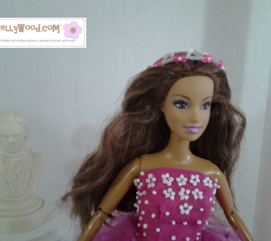 Image of Barbie in a quinceanera dress