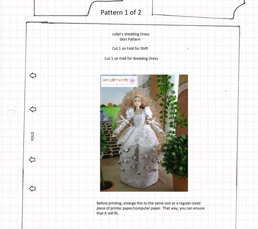 Image of momoko ball jointed doll wedding gown pattern with the words chellywood.com watermarked on the image