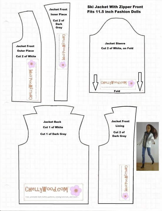 Image of printable sewing pattern for a ski coat or winter jacket to fit a Barbie-sized doll like Liv Dolls, Tammy Dolls, or Fashion Royalty dolls