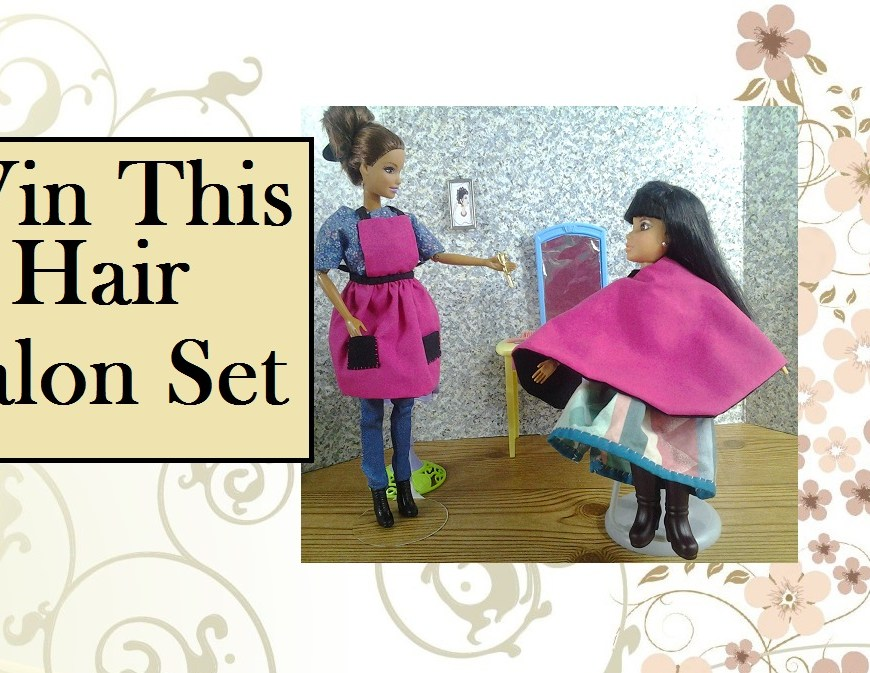 "Image of a Barbie and a Liv doll in a hairdresser's salon. Overlay says, ""Win this Hair Salon Set""."