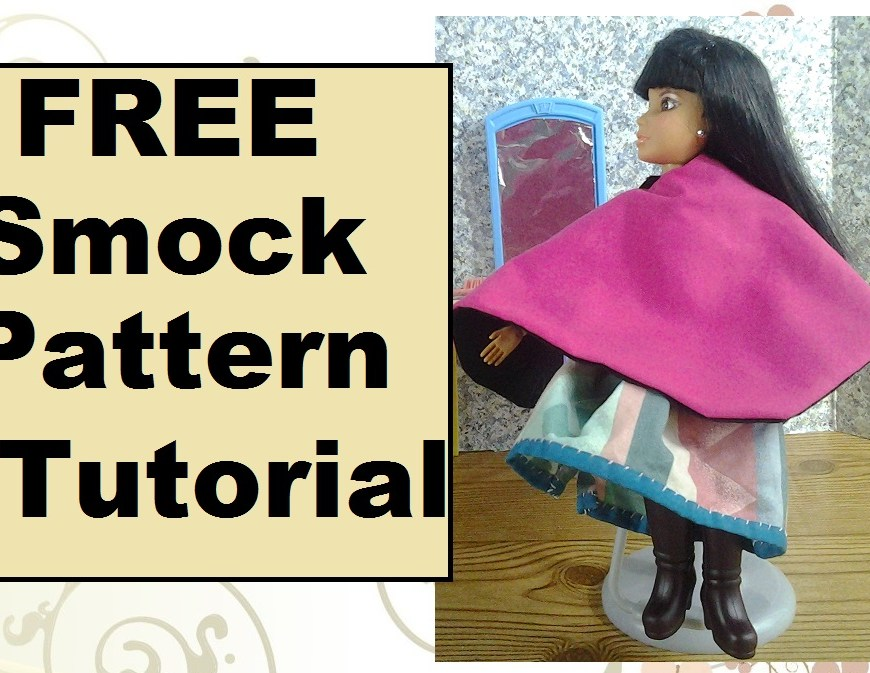"Image of Liv Doll wearing a hairdresser's smock with overlaid words ""FREE Smock Pattern & Tutorial"""