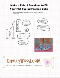 """Image of doll wearing Converse-like high-top sneakers with pattern for sewing the shoes. Words overtop say """"Before printing, enlarge to fit an American sized piece of computer paper: 8.5 x 11 inches."""""""