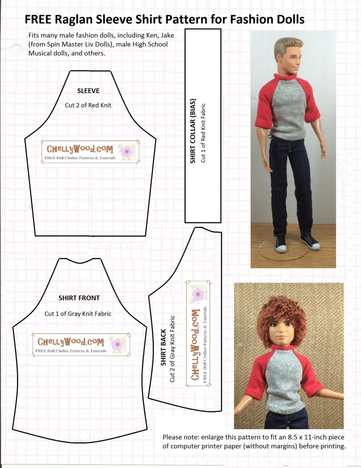 """Sewing pattern for male doll's raglan sleeved shirt with overlapping words """"free raglan sleeve shirt pattern for fashion dolls"""""""