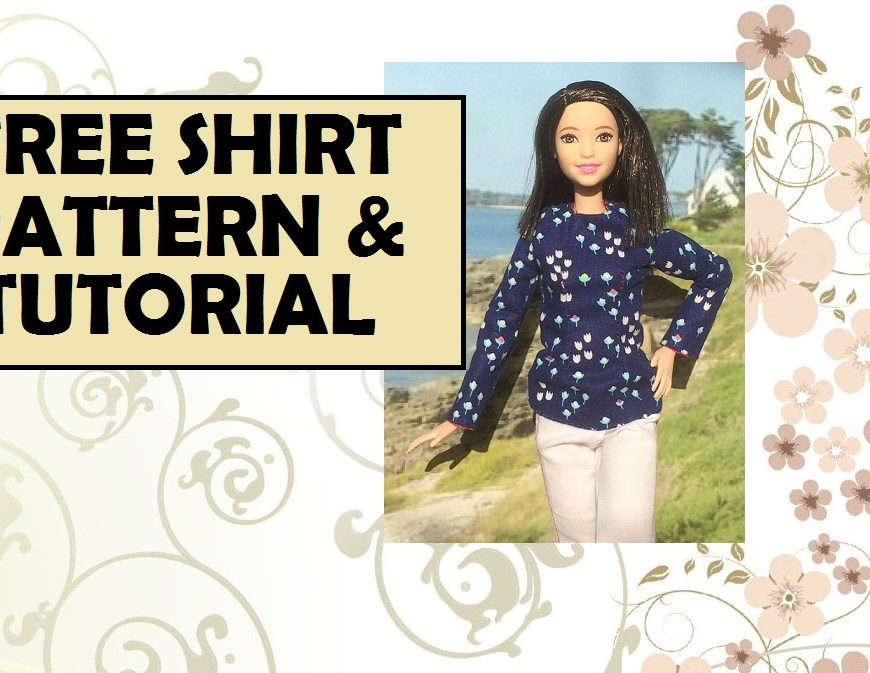 Image of Mattel's (TM) Tall Barbie wearing a hand-made long-sleeve shirt with overlay of words: free shirt pattern and tutorial
