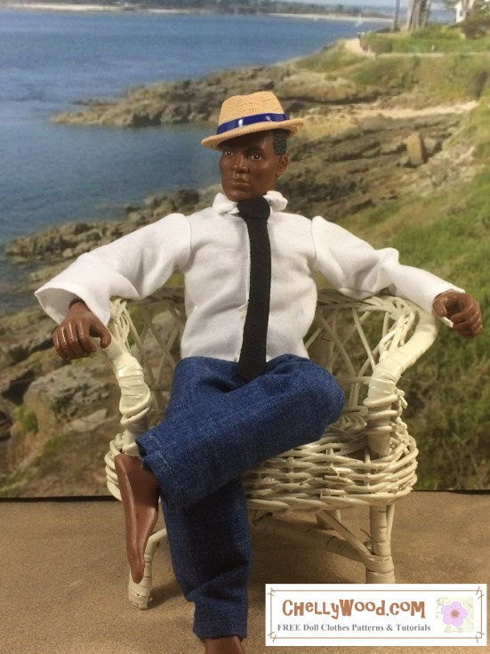 "Image of African American GI Joe doll seated in a wicker chair with a beach background. He wears a hand-made shirt, tie, and jeans. His plastic fedora is designed to look like it's made of straw, and he wears it tilted at an angle. Even shoe-less in the sand, he looks very dapper! Overlay says, ""ChellyWood.com: free printable doll clothes patterns and tutorials."""
