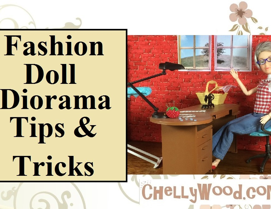 "Image of fashion doll seated at a re-painted desk with miniature lamp, sewing machine, pin cushion, sewing basket, and tiny buttons. Overlay says, ""Fashion Doll Diorama Tips and Tricks""."