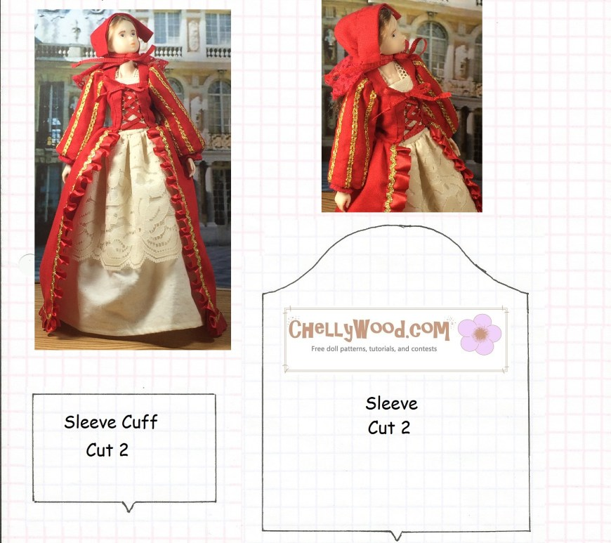 "Image of sewing pattern for Renaissance style sleeve with cuff. Pattern is designed to fit fashion dolls. Image of Momoko fashion doll wearing a Renaissance gown. Watermark says ""Chelly Wood dot com for free, printable sewing patterns to fit dolls of many shapes and sizes."""
