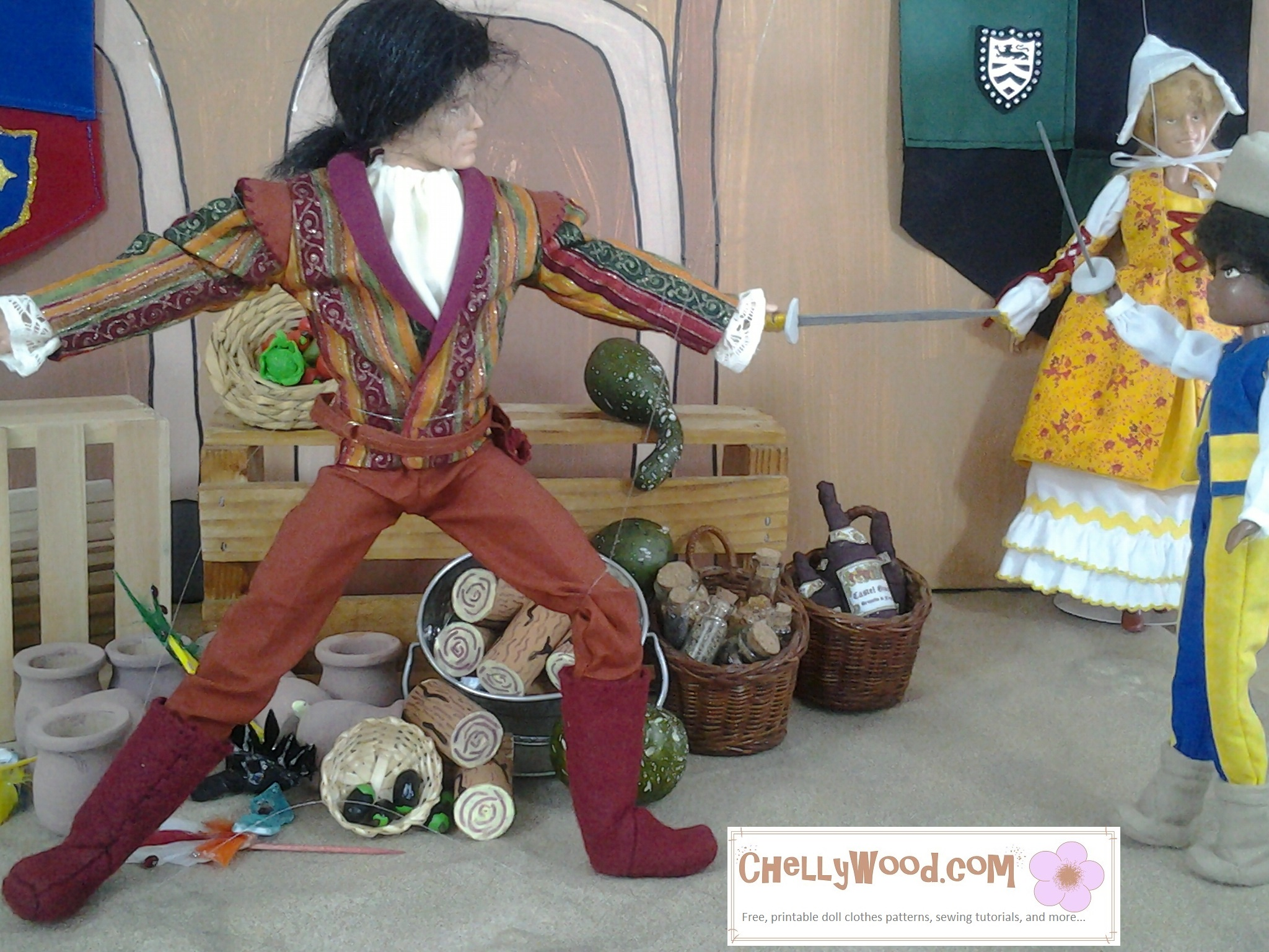 Image of Finnick Odair doll from Hunger Games wearing a wig and dressed as Tybalt for Chelly Wood's stop-motion video of Romeo and Juliet with 1:6 scale dolls. On the page, it offers free, printable sewing patterns for making the Tybalt costume to fit most Ken-sized dolls.