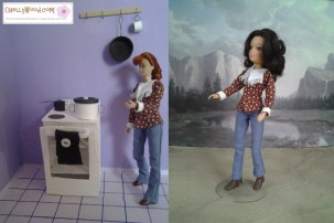 """Image of Breyer model horse rider doll """"Laura"""" and World of Love doll from Hasbro both wearing the same western-style shirt and blue jeans. Each doll stands in a diorama; the Breyer doll is in a kitchen with stove and frying pan; the World of Love doll stands on a sandy ground with a mountain in the background. Overlay says, """"Visit ChellyWood.com for free printable sewing patterns for dolls of many shapes and sizes."""""""
