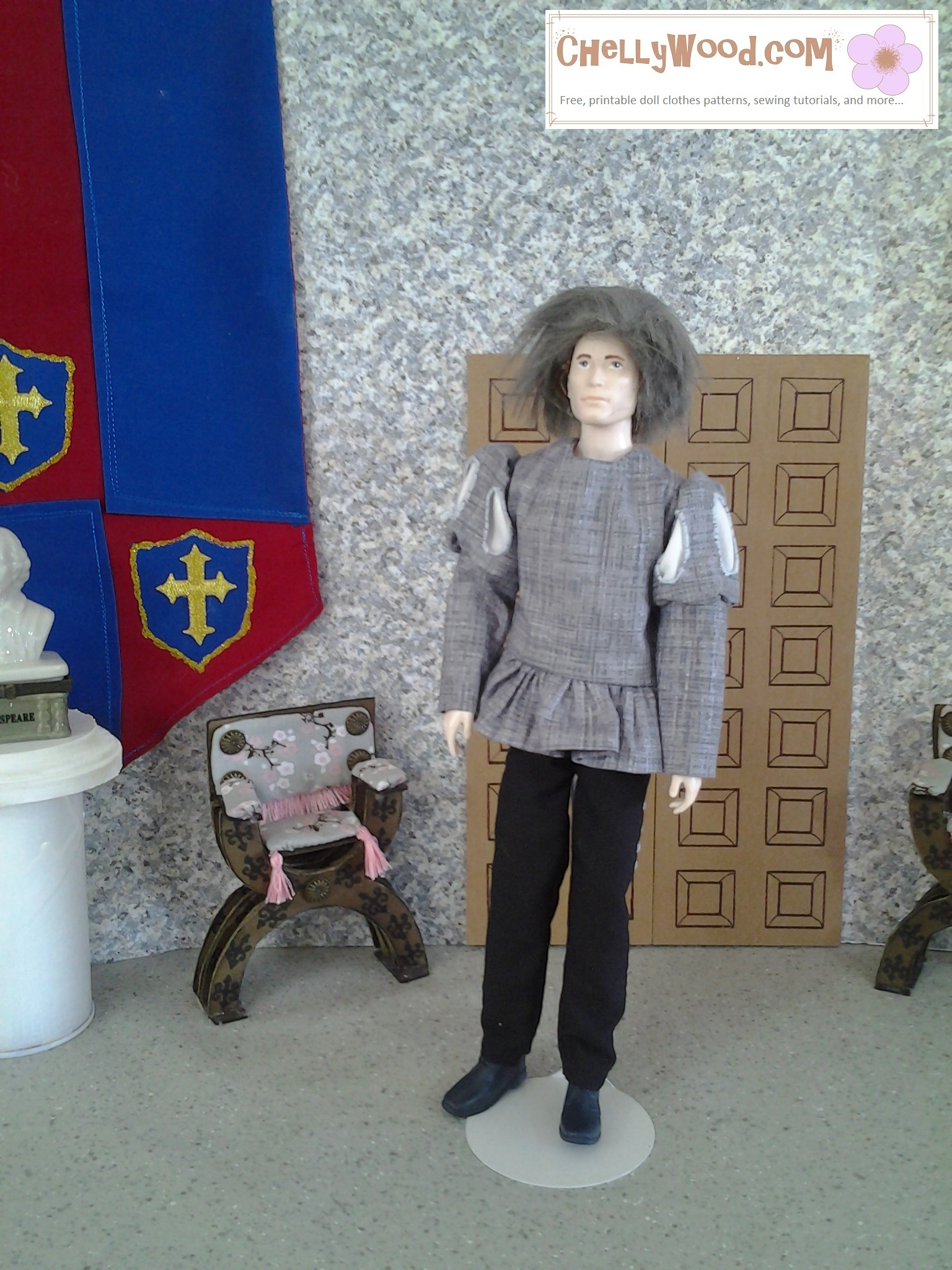 Image shows Jackson Rathbone doll (actor who played Jasper in the Twilight movie) dressed in a medieval or Renaissance style tunic and trousers. Pattern for this costume is free at ChellyWood.com, along with a tutorial showing how to make it.