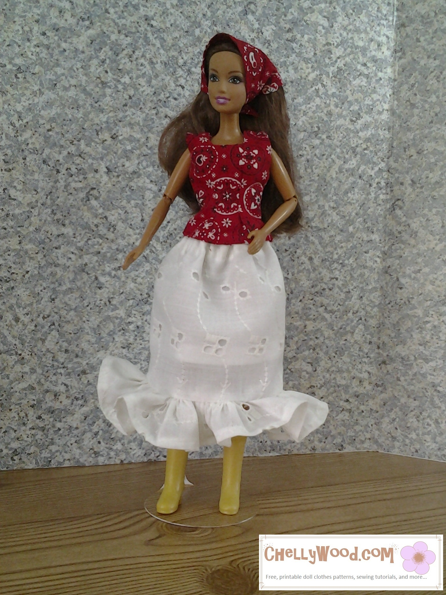 Visit ChellyWood.com for free, printable sewing patterns for dolls of many shapes and sizes. Image shows fashion doll wearing hand-made ruffled eyelet skirt, western-style headscarf, and sleeveless summer top made of cowboy western hankerchief-style cotton fabric. If you'd like to make this outfit for your fashion dolls (including Barbie), please click on the link in the caption.