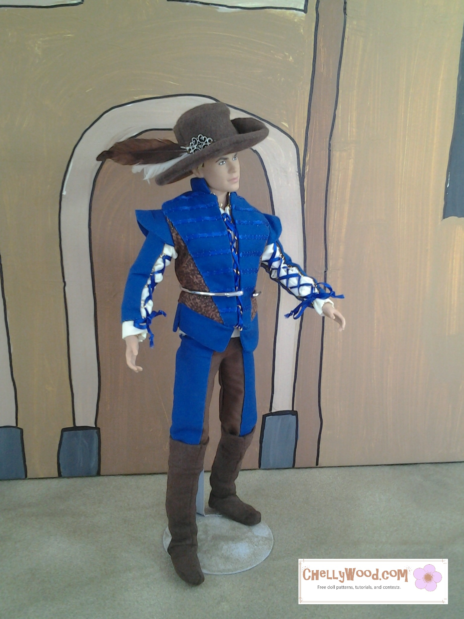 Image shows Texas A and M Ken wearing Renaissance Faire garb including a cavalier hat, leather-looking boots, bi-colored trousers, a doublet with lace-up sleeves, and a blousy shirt. Patterns for all pieces of this costume are free to print at ChellyWood.com.