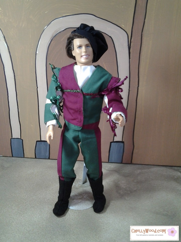 """Image shows Ken doll in charming Renaissance cosplay gear/clothes including bi-colored pants, renaissance doublet, ribbon-tied sleeves, fancy shirt, felt boots, and muffin cap. Watermark says, """"Chelly Wood dot com for free, printable sewing patterns to fit dolls of many shapes and sizes."""""""