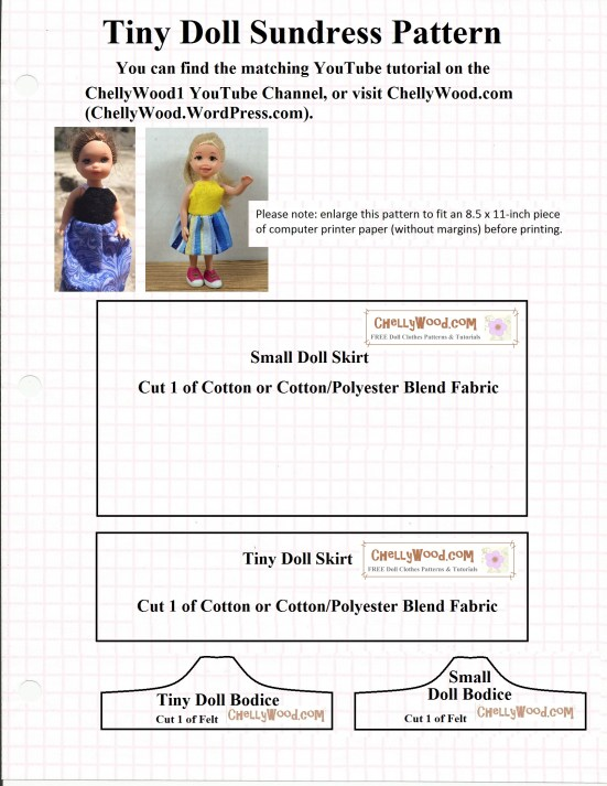 "Image shows a doll dress pattern for a ""tiny doll sundress"" to fit dolls like Kelly doll and Polly Pocket (trademark names from Mattel). This pattern is part of a ""Easy Sewing Projects for Kids"" program which is free and includes several free, printable sewing patterns and free tutorials on YouTube. More information is available at ChellyWood.com."