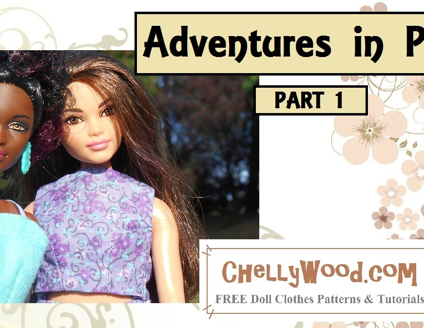 "Image shows Petite Barbie and Curvy Barbie taking a ""selfie"" with the following overlay: ""Adventures in Paris Part 1"" and a watermark that says ChellyWood.com"