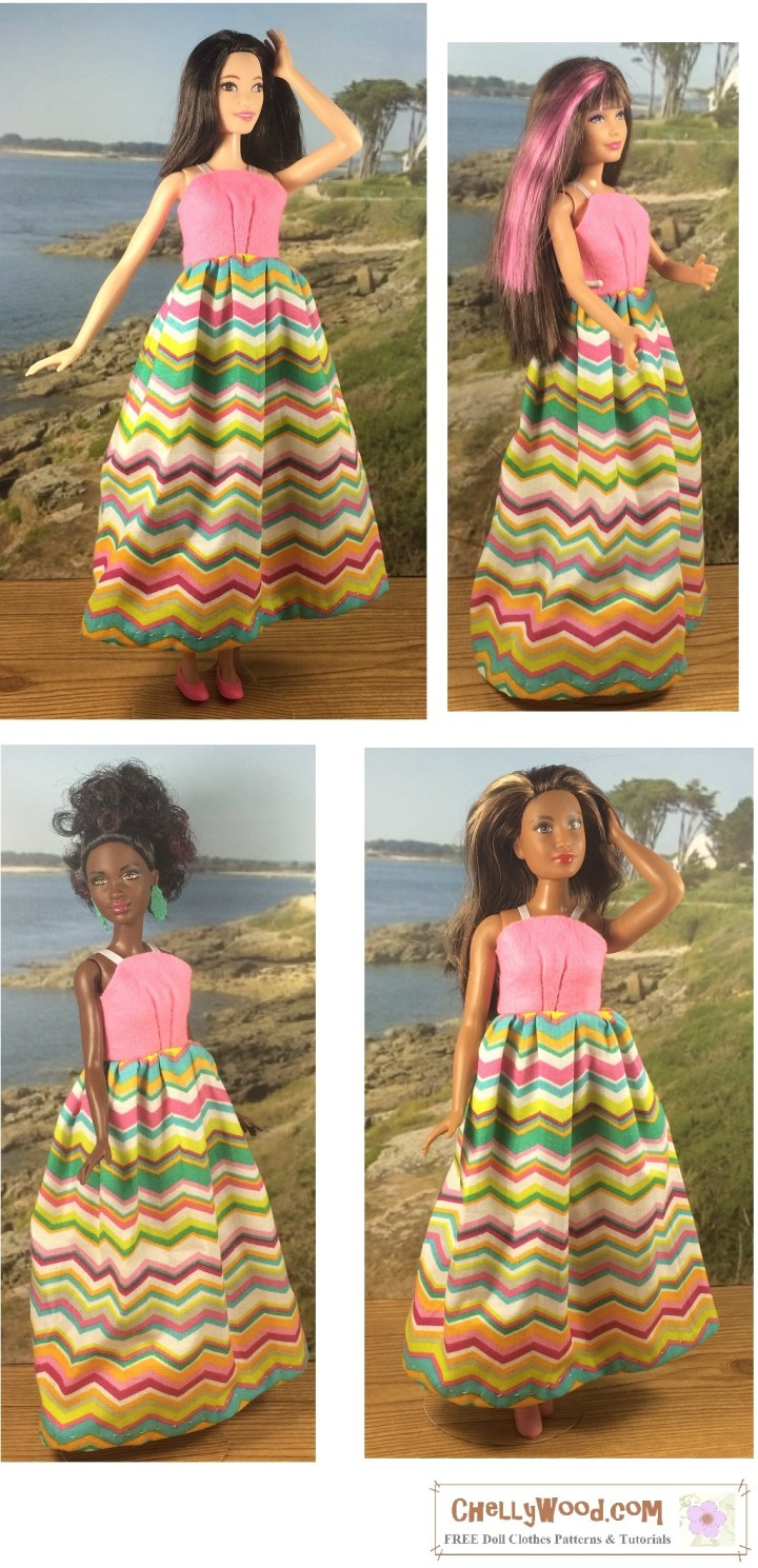"Image shows a simple sundress worn by three different Mattel dolls, including Curvy Barbie, Tall Barbie, Skipper, and Petite Barbie. Overlay says, ""Chelly Wood dot com: Free printable sewing patterns for dolls of many shapes and sizes."""