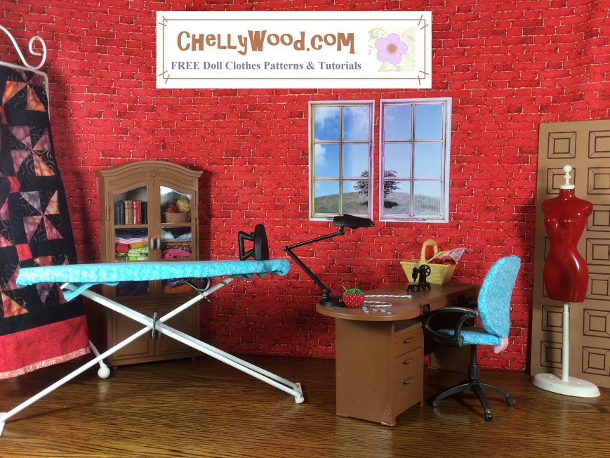 Here we see a sewing room 1:6 scale diorama made for Barbie and similar sized dolls. It includes an ironing board, a sewing table, an office chair, a wardrobe or storage closet, miniature sewing tools, and a dress form mannequin for trying the handmade doll clothes on. The wall behind these objects appears to be brick, with tiny windows set in.