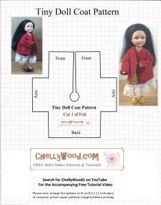 Image of printable sewing pattern to fit 4.5-inch or 11 centimeter dolls like Mattel's Chelsea, Polly Pocket, Kelly dolls, and more. Watermark says Chelly Wood dot com for Free doll clothes patterns and tutorials.