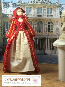 Click on the link in the caption to navigate to the page that offers free printable PDF sewing patterns for making this Renaissance costume for your Momoko dolls and similar-sized dolls. The image shows a Momoko doll wearing a red gown with a red cap or bonnet. The style of gown is reminiscent of the 15th century in Europe.