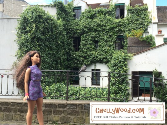 """Image of Curvy Barbie® strolling along a cobblestone road with ivy-covered building behind her. Overlay says """"Chelly Wood Dot Com FREE printable sewing patterns for dolls of many shapes and sizes."""""""